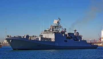 Navy's razor sharp Talwar-class frigates cut through the seas
