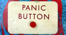 Vehicle location-tracking devices with panic buttons