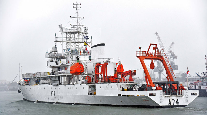 Marine acoustic research ship INS Sagardhwani on a mission leaves Kochi