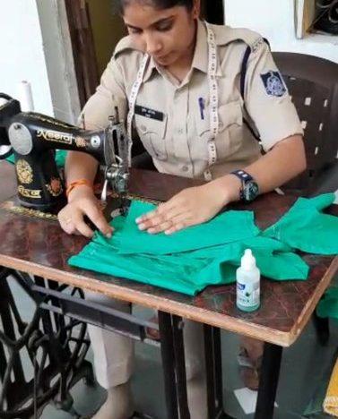 Shrishti Shrotriya MP cop sews face masks after duty for the unprivileged